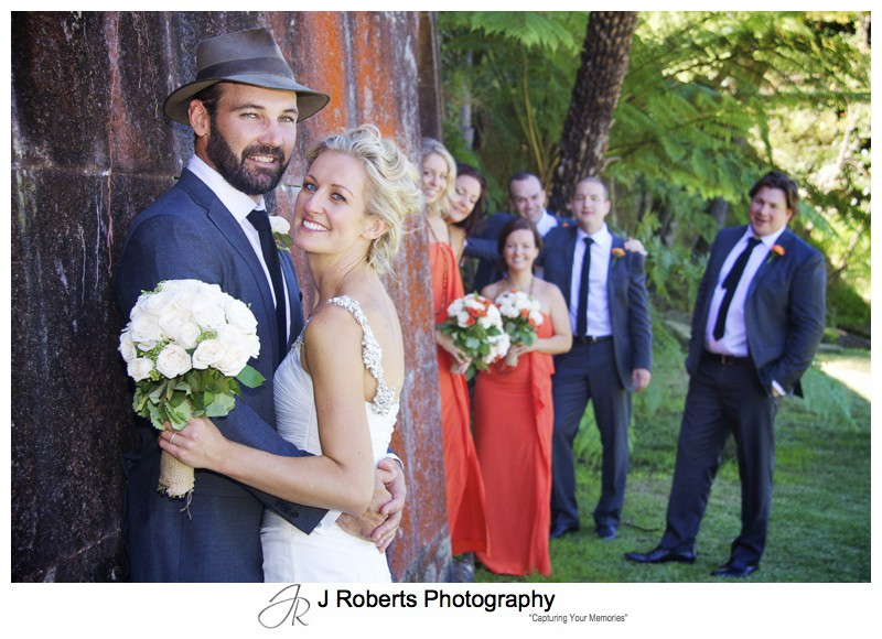 Couple with bridal party at Gunners Barracks Wall - wedding photography sydney