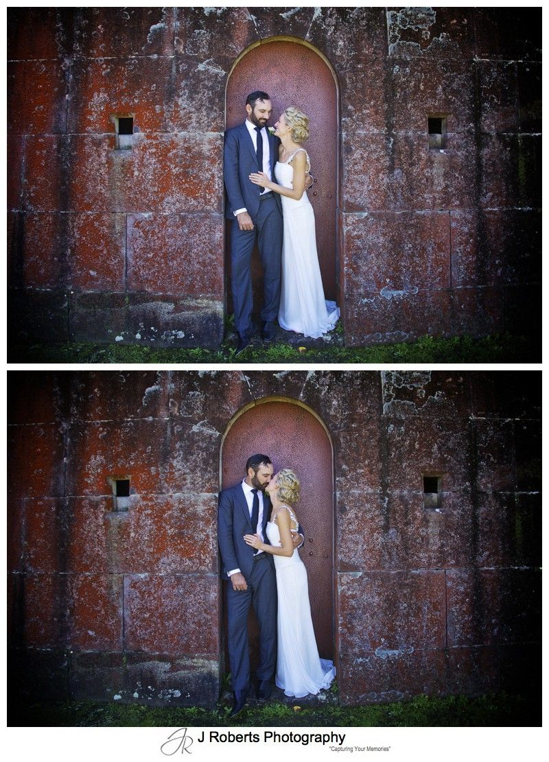 Bride and groom in an old doorway - wedding photography sydney
