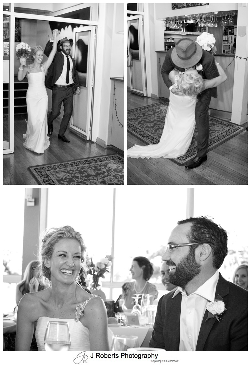 Bride and groom arrive at the reception - wedding photography sydney