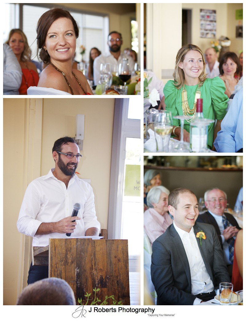 Guests response to wedding speeches - wedding photography sydney
