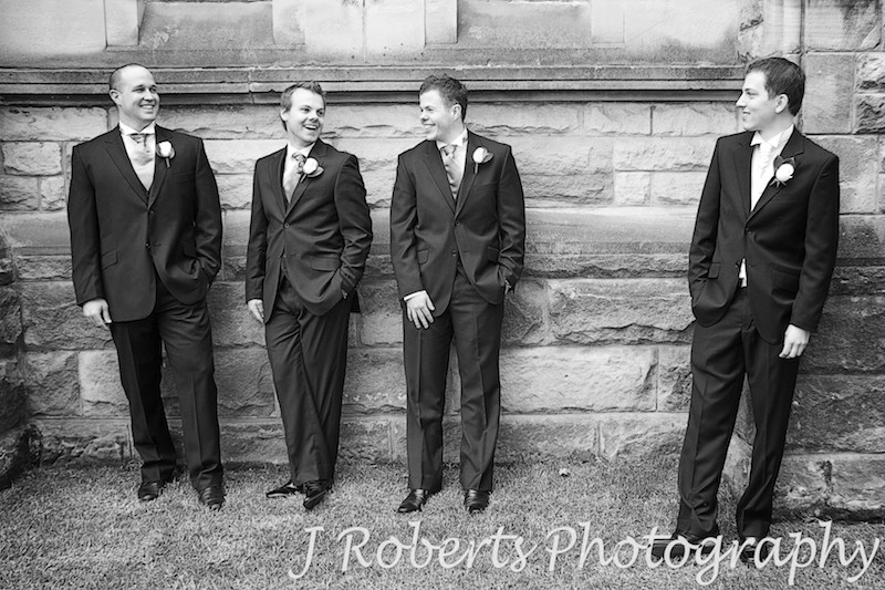 Groom with groomsmen outside St Thomas' North Sydney - wedding photography sydney
