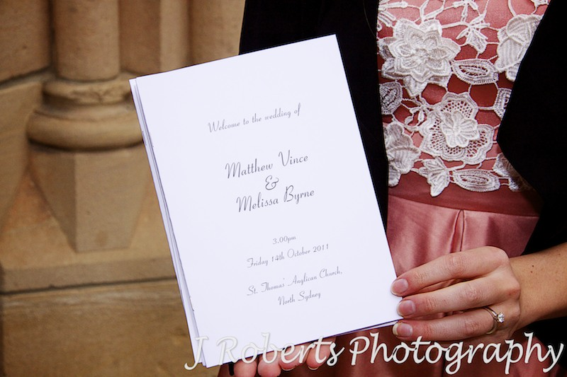 Order of service for wedding ceremony at St Thomas' NOrth Sydney - wedding photography sydney