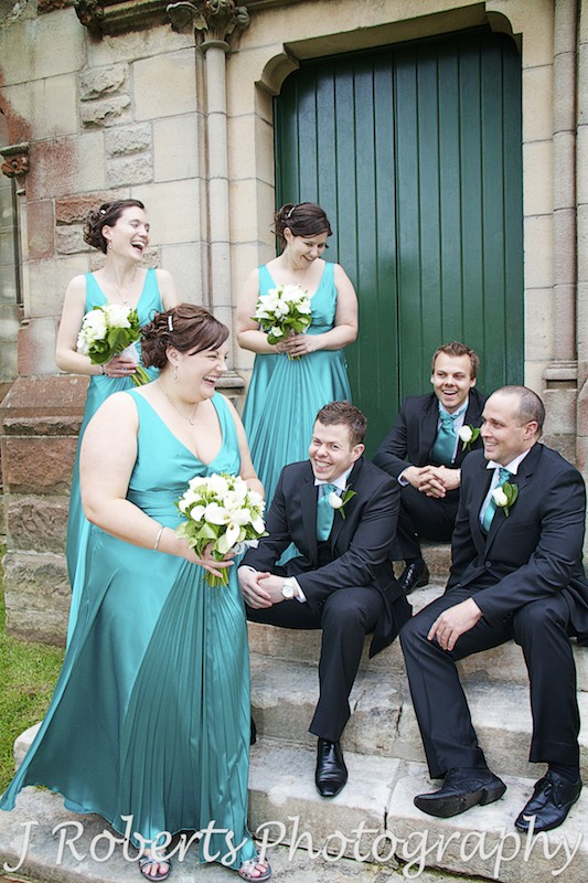 Laughing bridal party - wedding photography sydney