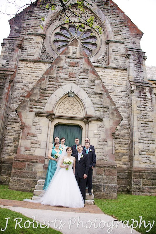 Bridal party on the church steps at St Thomas' NOrth Sydney - wedding photography sydney