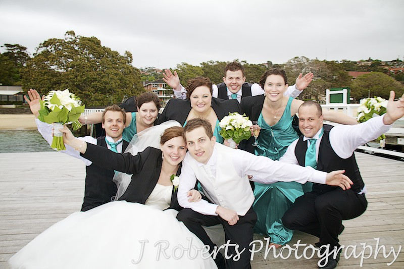 Bridal party celebrating balmoral baths mosman - wedding photography sydney