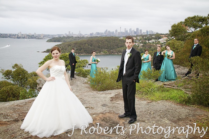 Bridal party doing the Zoolander pose - wedding photography sydney