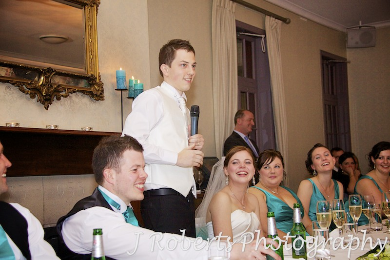 Groom speaking at reception at The Tea Room Gunners' Barracks - wedding photography sydney