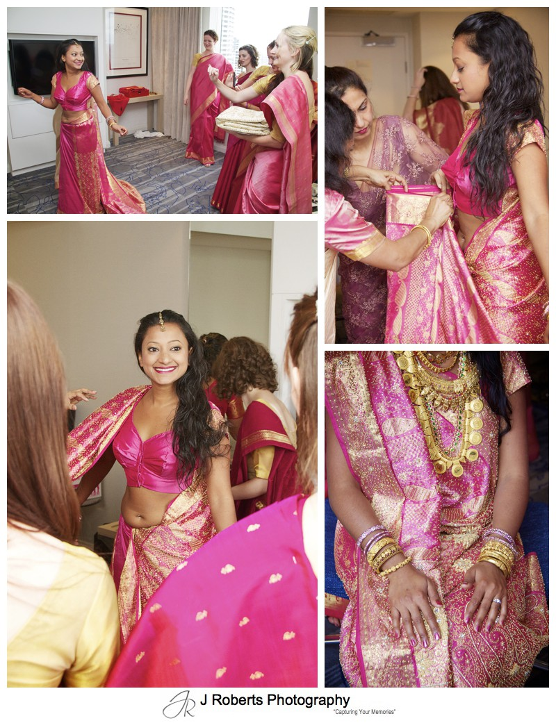 Colours of the girls getting ready for a hindu marriage blessing - wedding photography sydney
