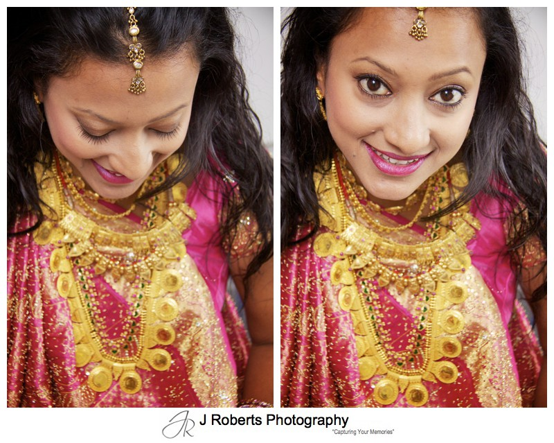 Beautiful bride before her hindu marriage blessing - wedding photography sydney