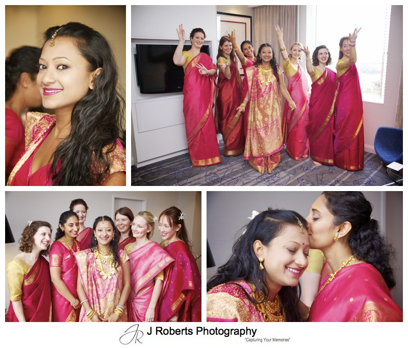 Bride with her girls before hindu marriage blessing - wedding photography sydney