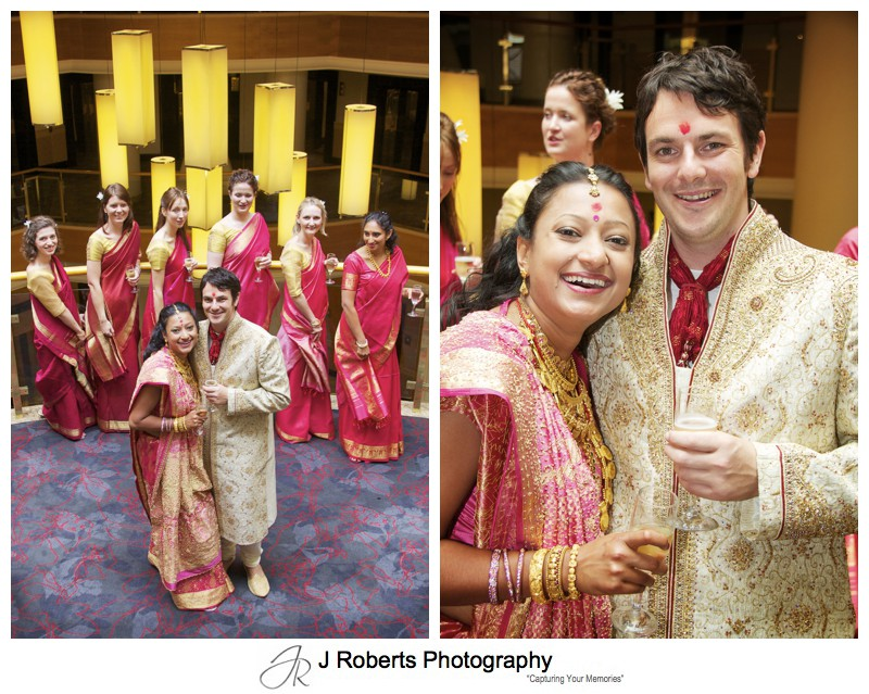 Couple with female attendants at Hindu Marriage Blessing - wedding photography sydney