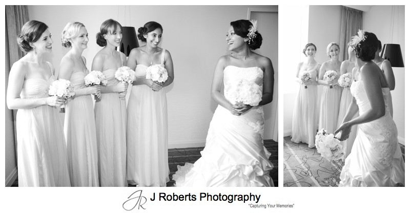 B&W bride laughing with bridesmaids - wedding photography sydney