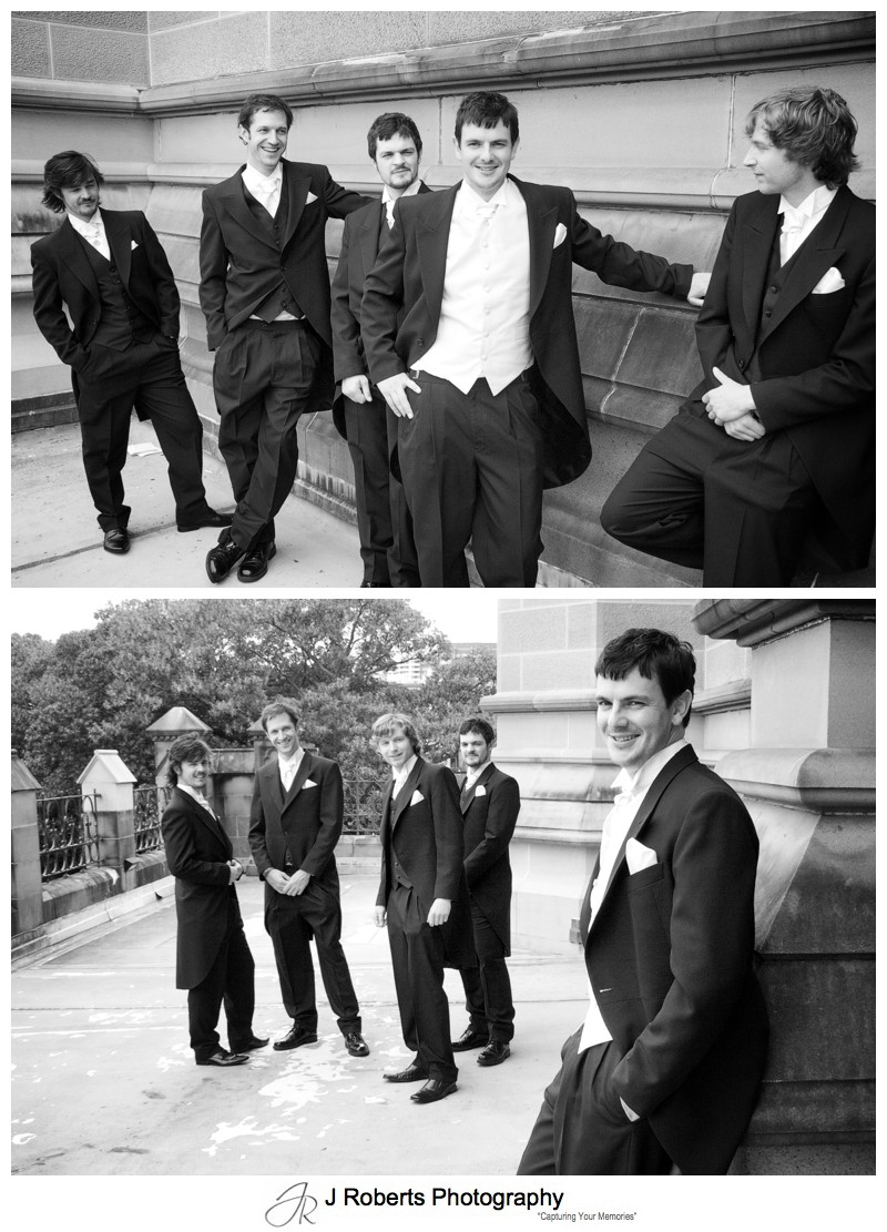 Groom with his groomsmen at St Mary's Cathedral - wedding photography sydney