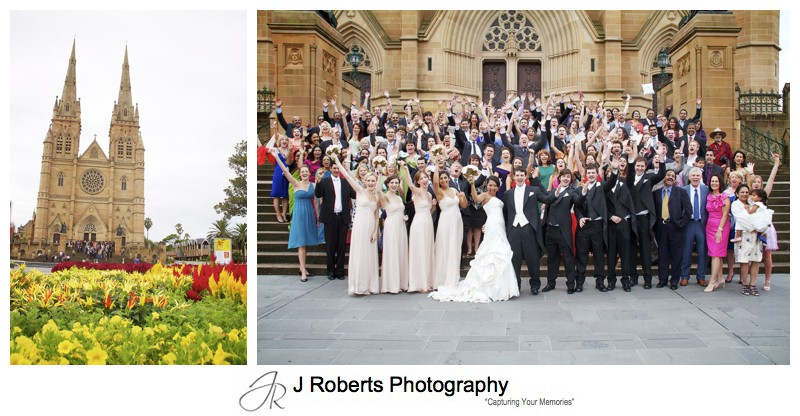 Guests celebrating outside St Mary's Cathedral - wedding photography sydney