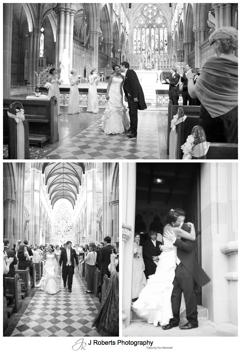 Bride and groom walking down the aisle at St Mary's Cathedral - wedding photography sydney