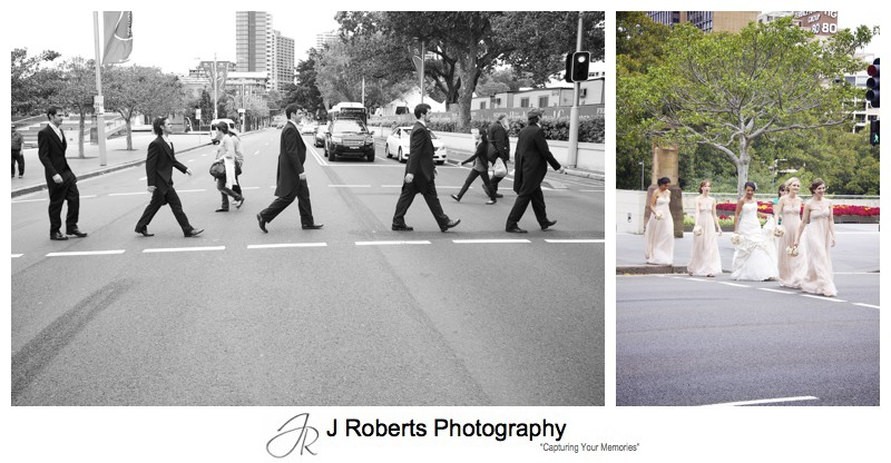 Bridal party walking across the road - wedding photography sydney