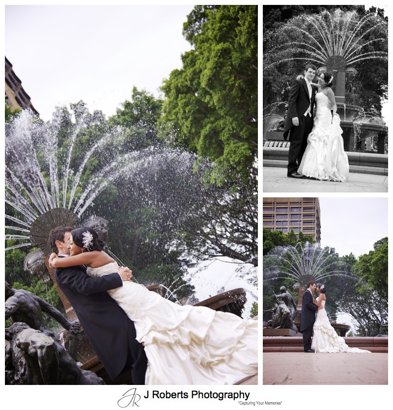 Bride and groom dancing in front of fountain at Hyde Park Sydney - wedding photography sydney