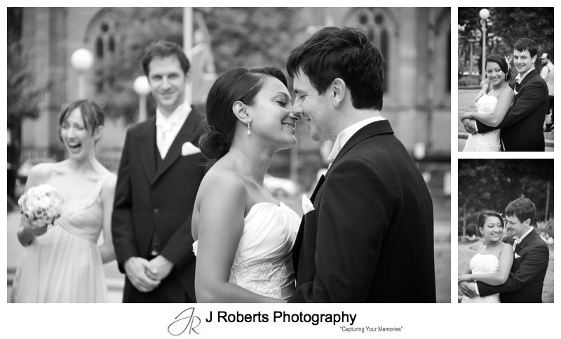 B&W photos of couple in Hyde Park - wedding photography sydney