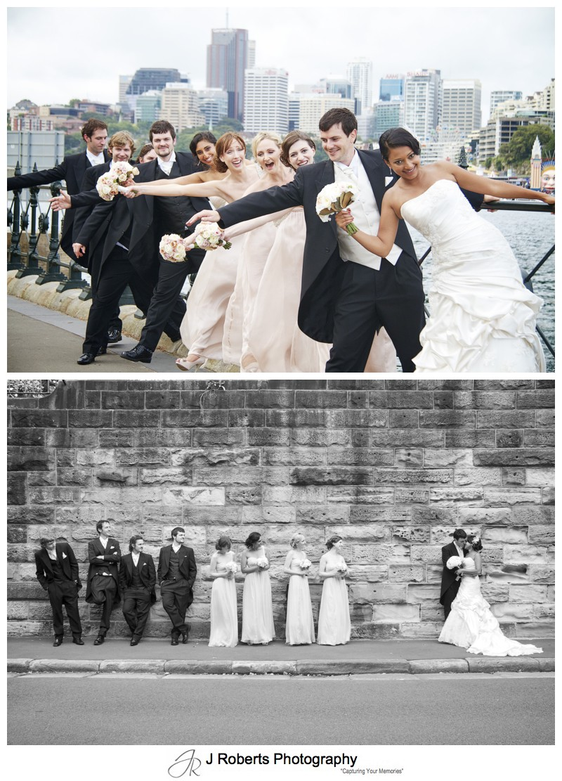 Bridal party having fun along Sydney foreshore - wedding photography sydney