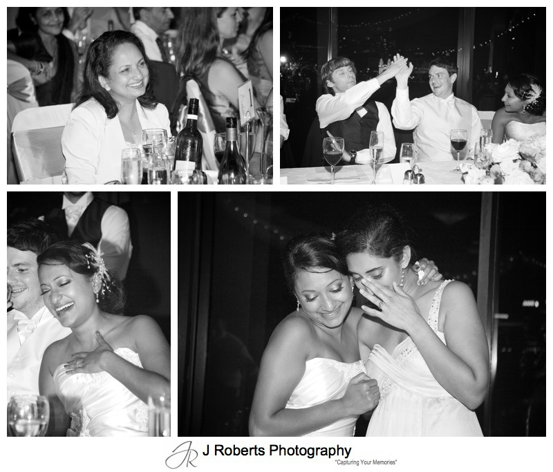 Reactions to speeches at wedding reception - wedding photography sydney