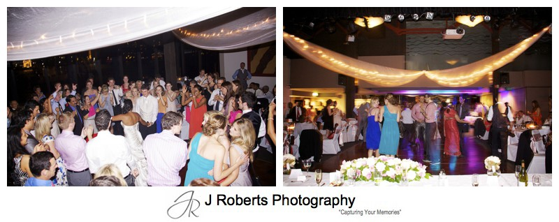 Dancefloor action at Waters Edge Wedding Reception - wedding photography sydney