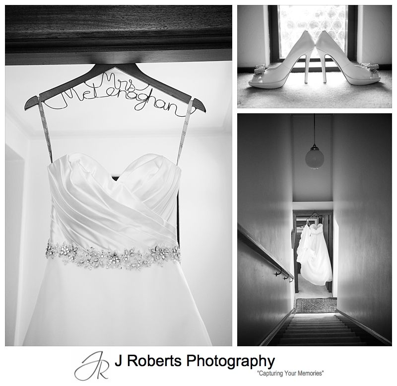 Wedding dress, Mrs Coathanger and shoes - wedding photography sydney