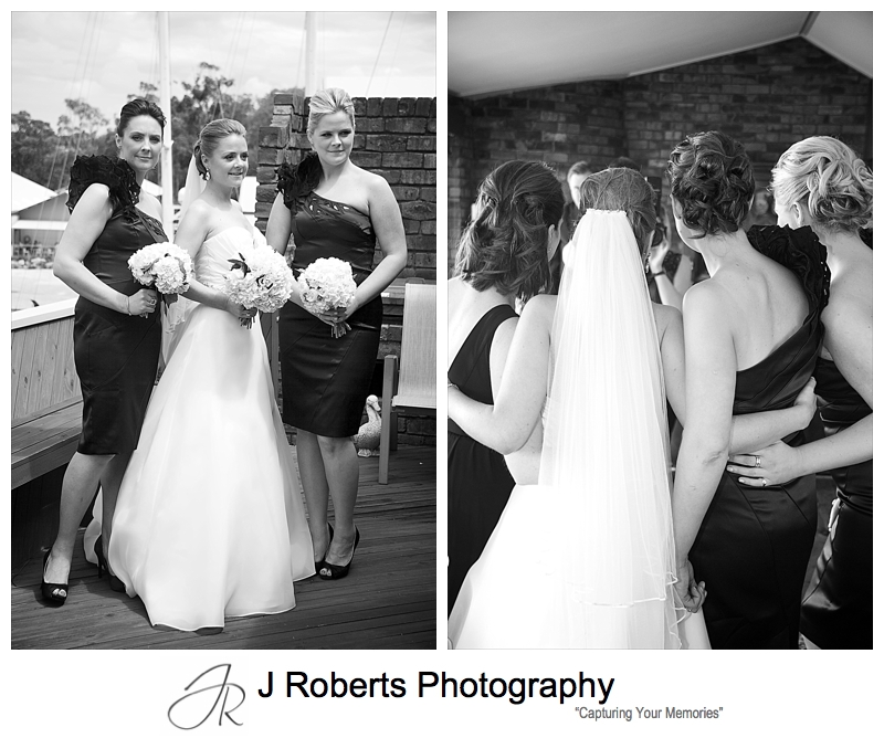 Bride in B&W with bridesmaids - wedding photography sydney
