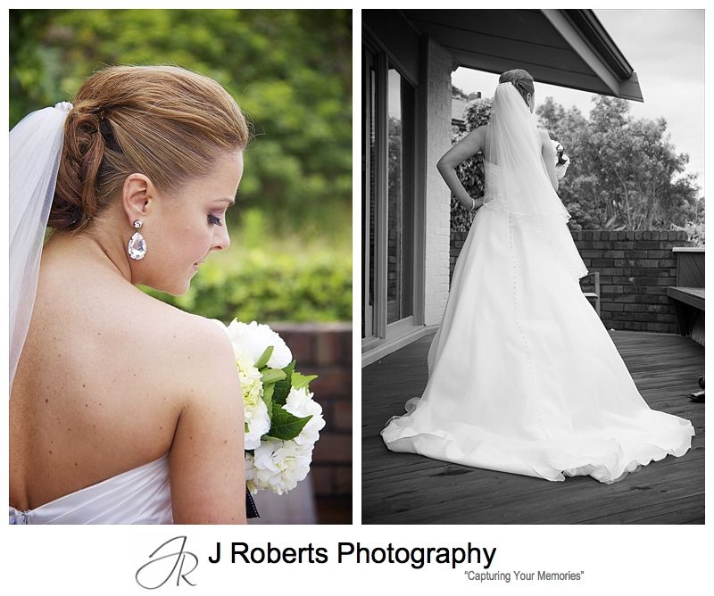 Bride from behind with full length dress - wedding photography sydney