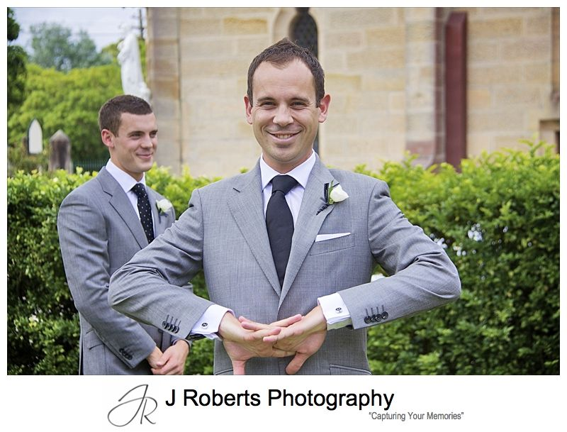 Groom all smilies ready for wedding - wedding photography sydney