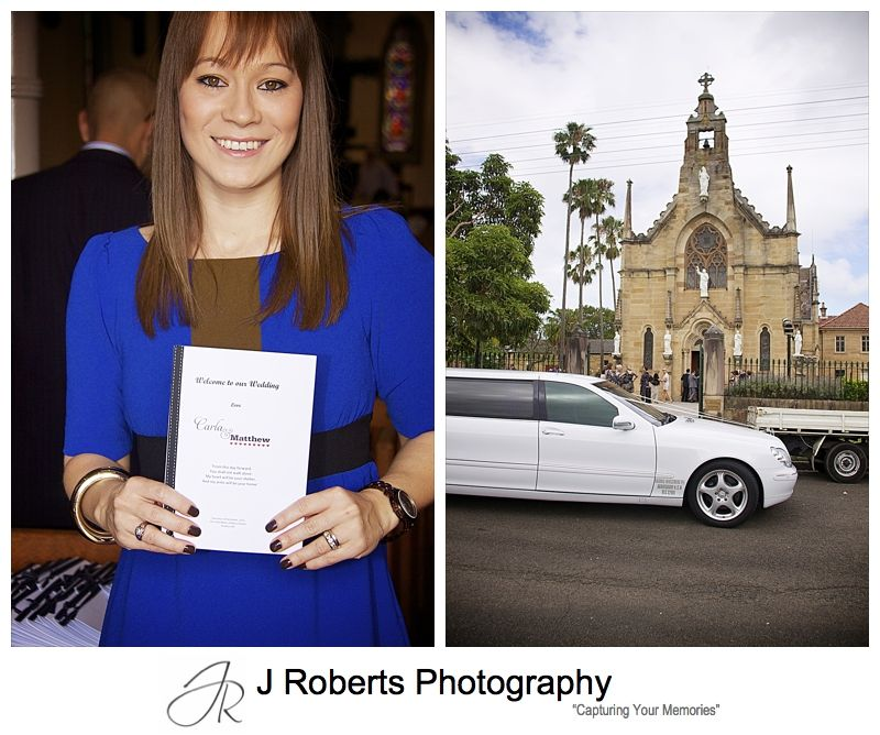 Usher with order of service outside Holy Name of Mary Hunters Hill church - wedding photography sydney