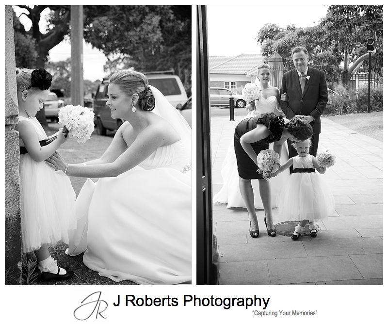 Bride with flower girl before walking down the aisle - wedding photography sydney