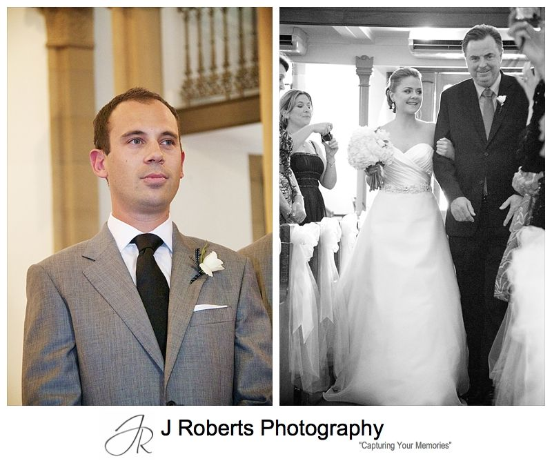 Groom and bride as they walk down the aisle - wedding photography sydney