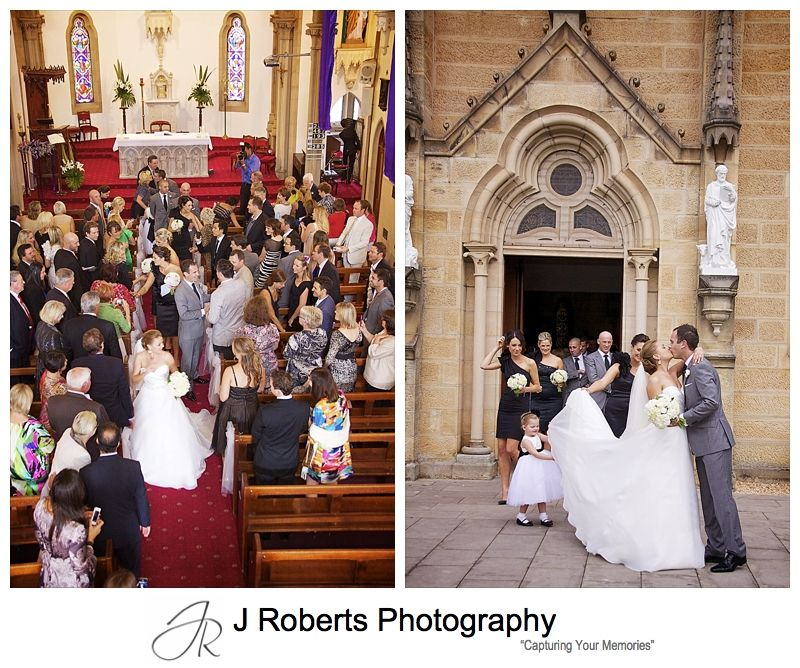 Bride and groom leave church after ceremony - wedding photography sydney