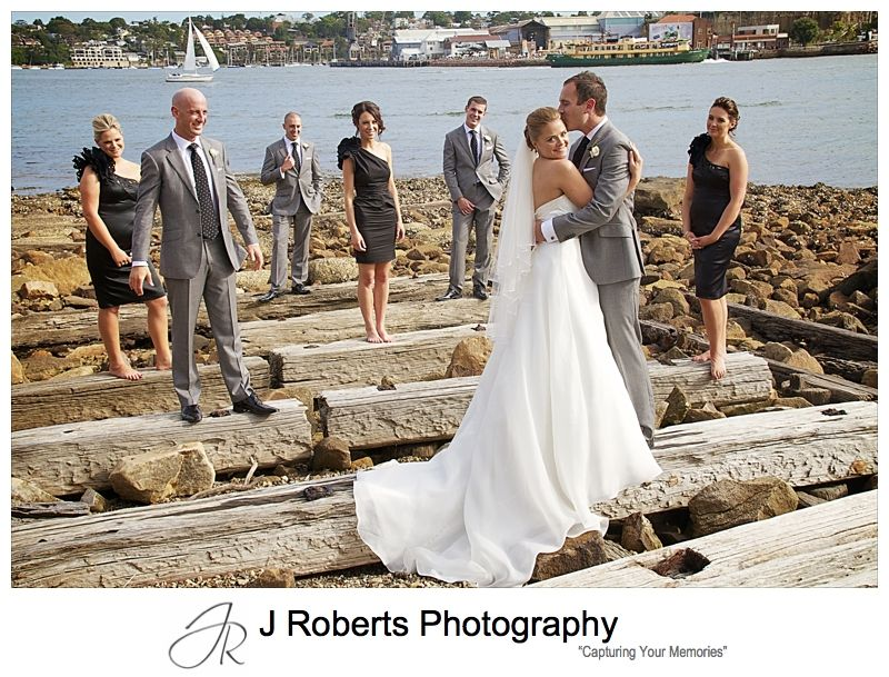 Bridal party on old slipway overlooking Cockatoo Island - wedding photography sydney