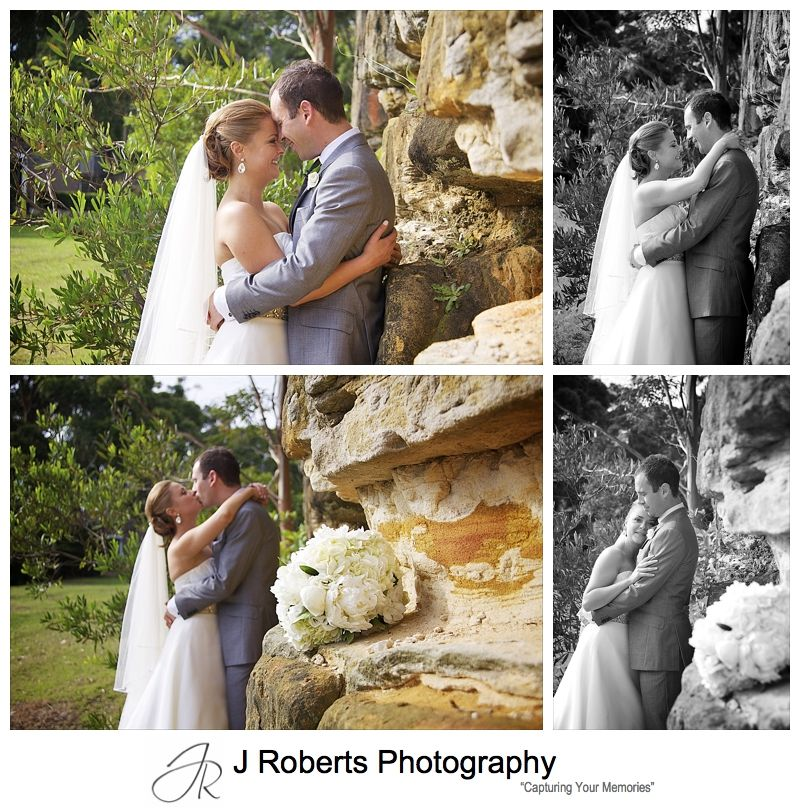Couple embracing near sandstone wall - wedding photography sydney
