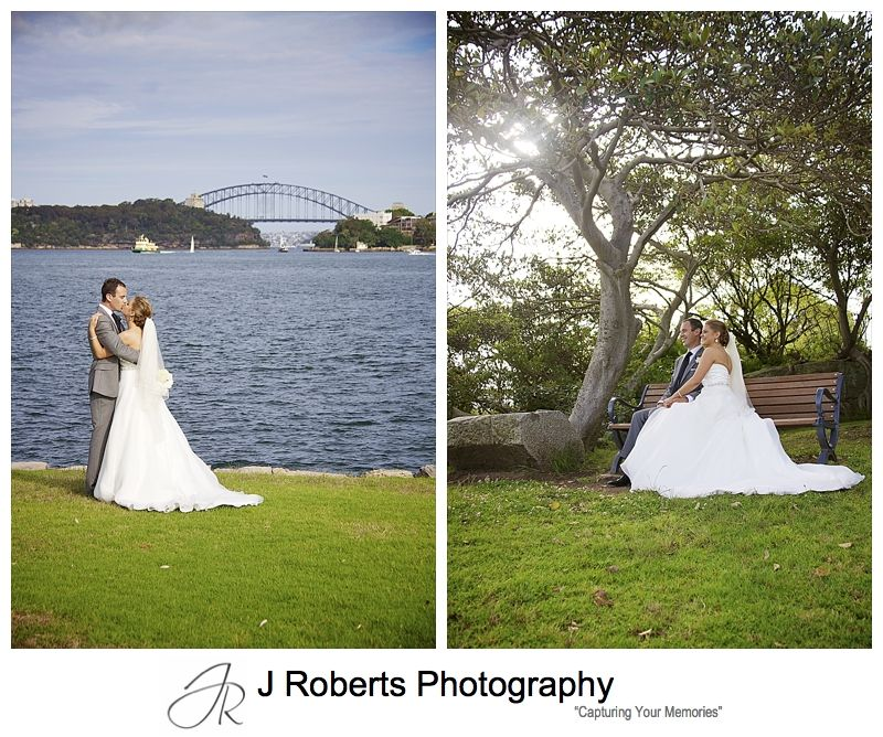 Couple kissing with scenery of Clarkes Point Woolwich - wedding photography sydney