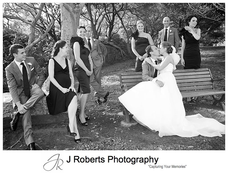Bridal party in the park - wedding photography sydney