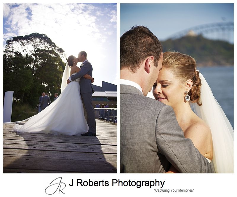 Couple kissing on woolwich dock - wedding photography sydney