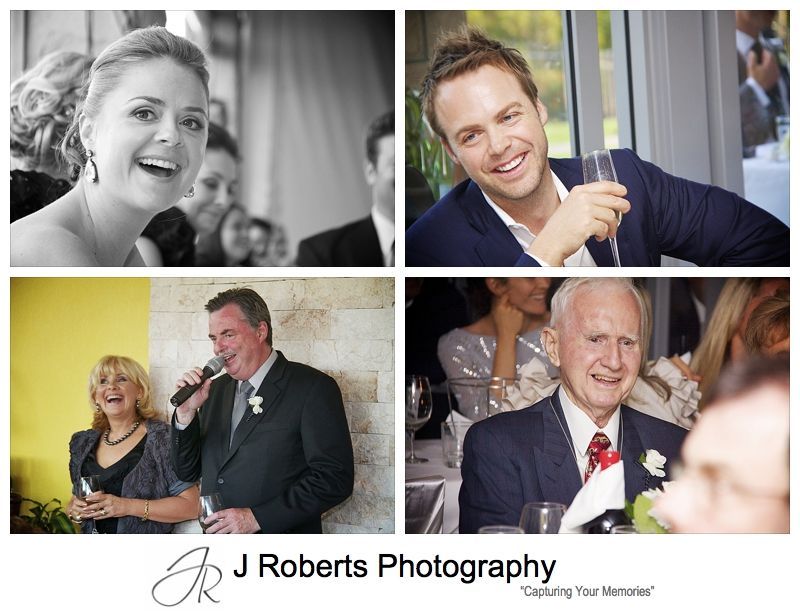 Guests responding to speeches at wedding reception - wedding photography sydney