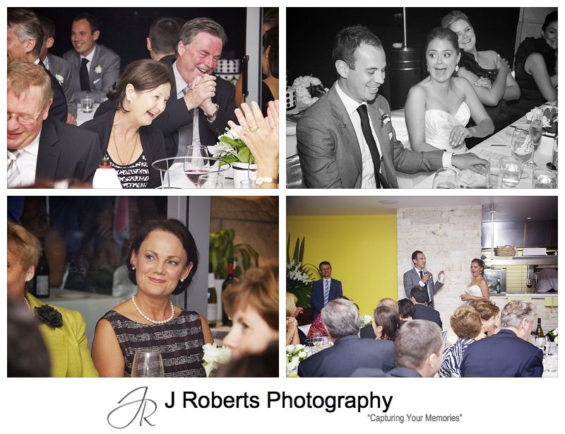 Guests laughing at wedding speeches - wedding photography sydney