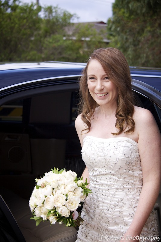 Bride arriving in car at church - wedding photography sydney
