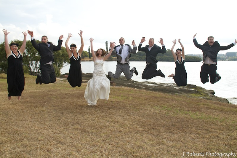 Bridal party jumping - wedding photography sydney