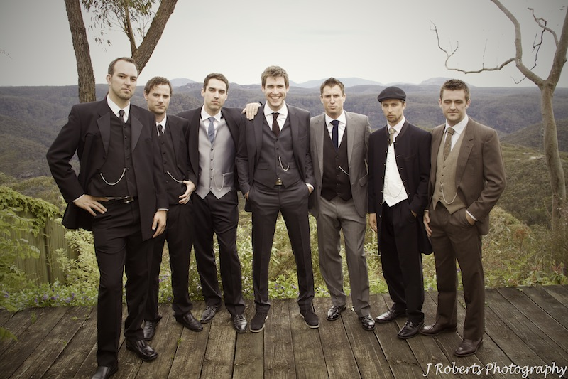 Groomsmen in 1920s style photograph - wedding photography