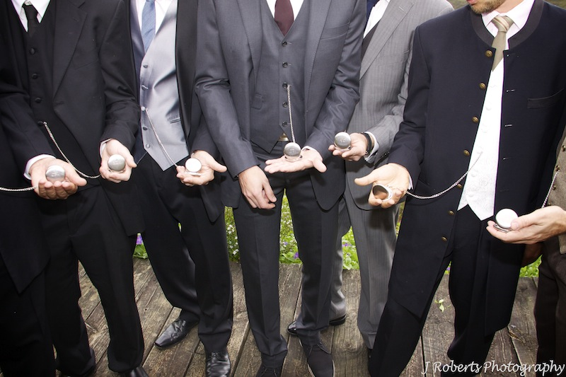 Groomsmen with fob watches - wedding photography
