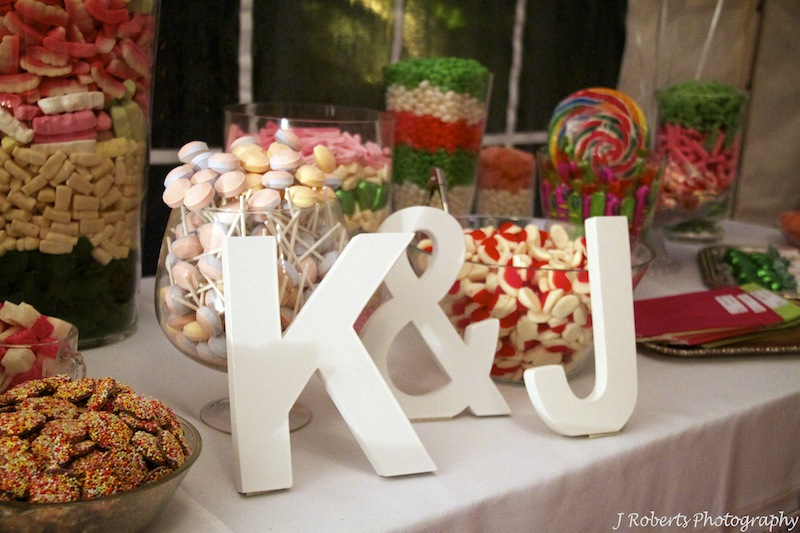 Kate and James candy bar dessert - wedding photography