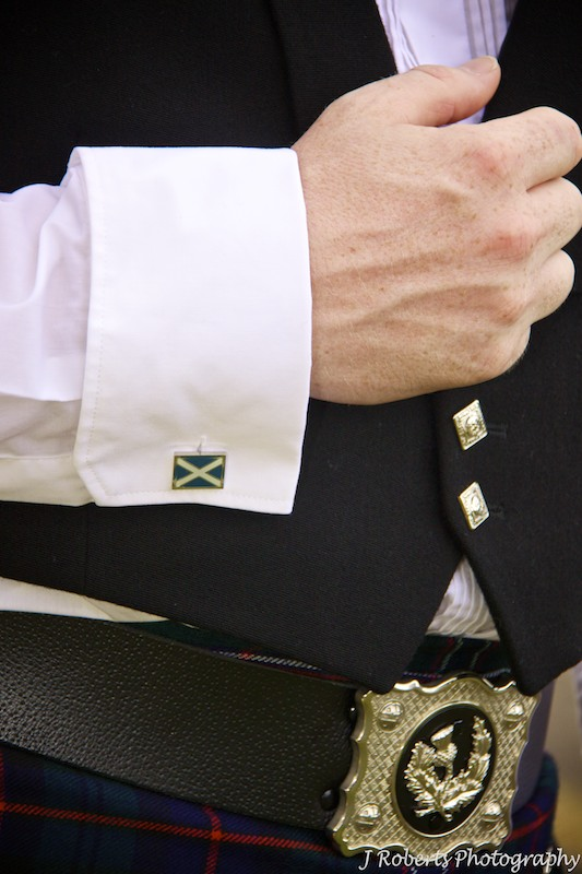 Scottish Flag cufflinks and Kilt - Wedding photography sydney