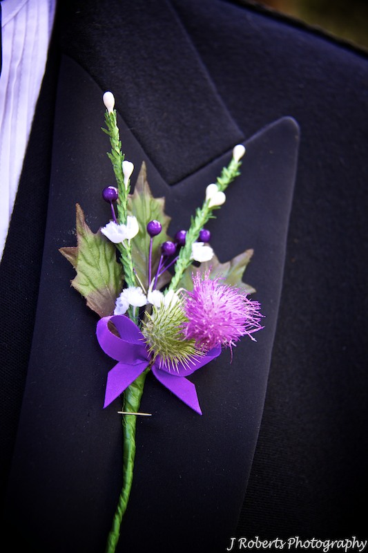 Scottish Thistle Button hole - wedding photography sydney