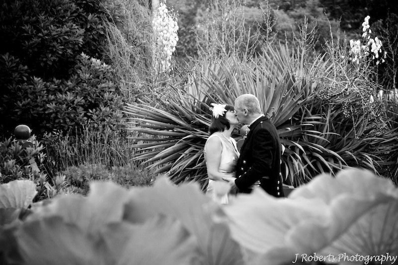 Bride and groom with lilly pond - wedding photography sydney