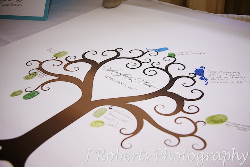 Fingerprint tree guest book - wedding photography sydney