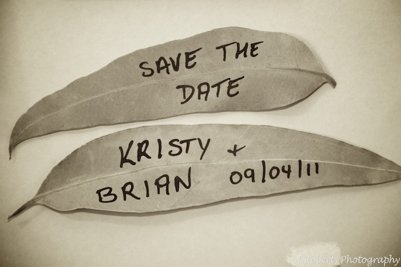 Gum leaf save the date message - wedding photography sydney